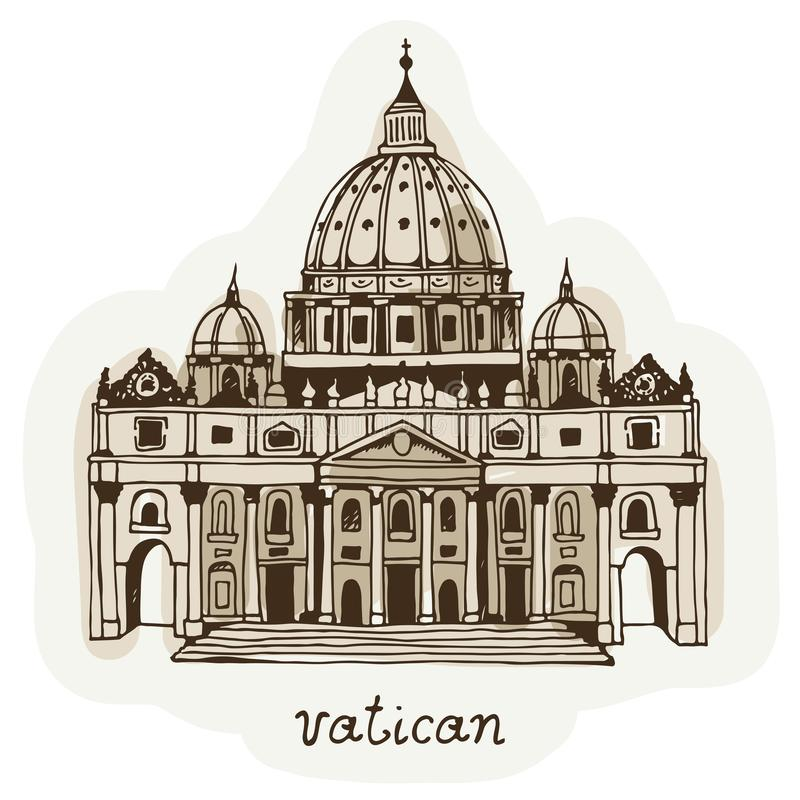 Wręcza patroszoną St Peter bazylikę, Watykan, Rzym, Włochy royalty ilustracja