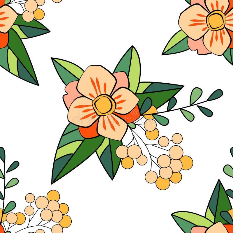 Wręcza patroszonego wektorowego bezszwowego wzór z liśćmi i gałąź Może używać dla tkanin, tapety, rezerwacja, ornamentacyjna royalty ilustracja
