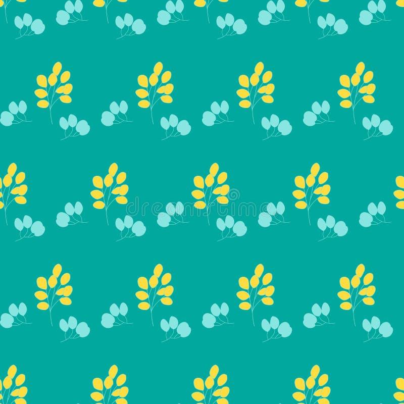 Wręcza patroszonego wektorowego bezszwowego wzór z liśćmi i gałąź Może używać dla tkanin, tapety, rezerwacja, ornamentacyjna ilustracja wektor