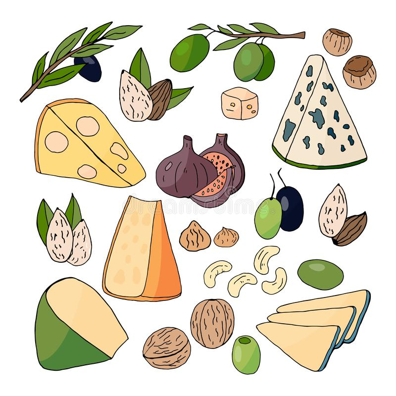 Wręcza patroszonych różnych rodzaje ser, dokrętki, oliwki i figi, ilustracja wektor