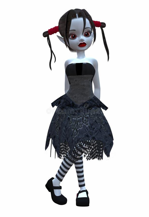 wróżki goth słodkie lalki ilustracja wektor