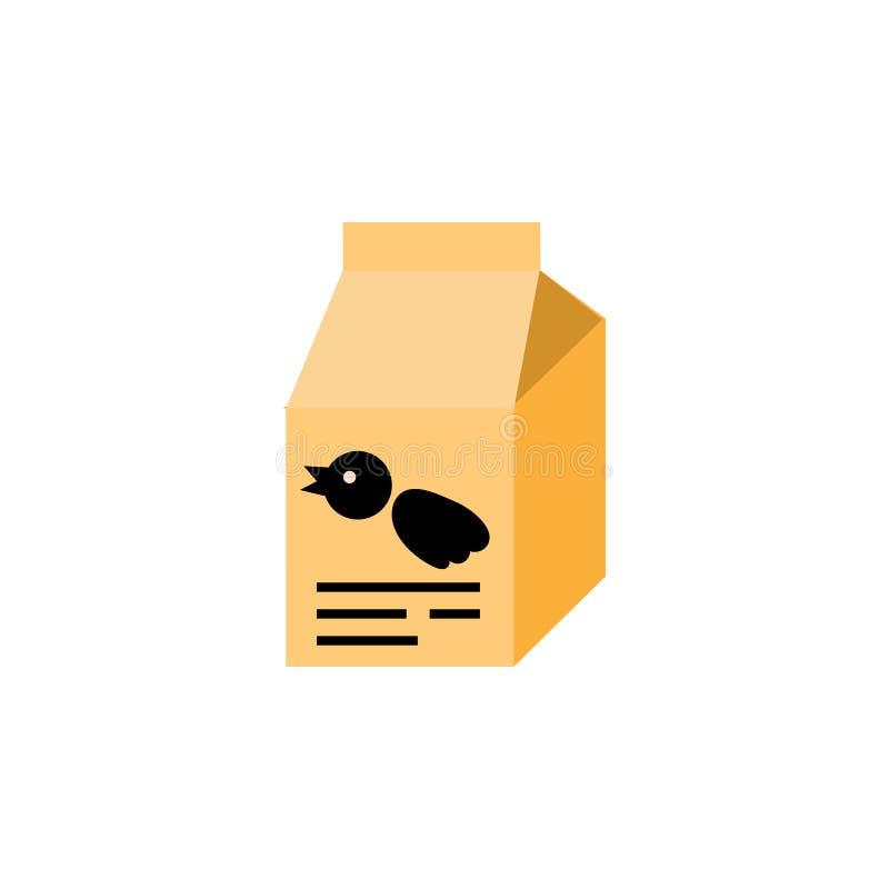 Wróblia posiłku mieszkania ikona Odżywianie Pudełkowaty Wektorowy element Może Używać Dla ptaka, jedzenie, Pudełkowaty projekta p ilustracja wektor