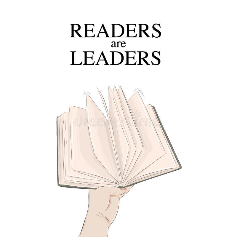 Wręczać książkową wektorową ilustrację Czytelnicy są lider wyceny plakatem Nowożytna czytelnicza typografii reklama ręka gestu ma royalty ilustracja