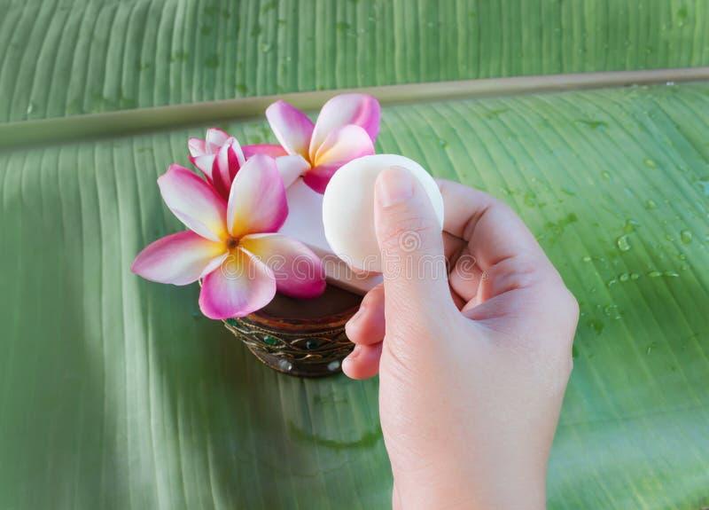 Wręcza bierze mini mydło z kwiatu frangipani na zielonym bananowym lea obraz stock