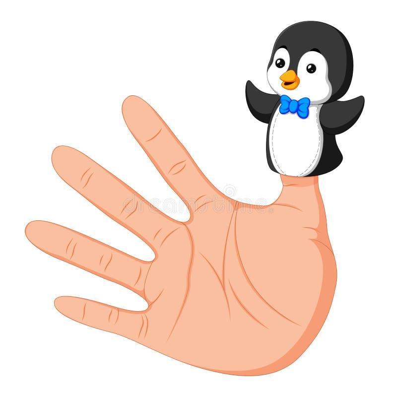 Wręcza być ubranym ślicznej pingwinu palca kukły na kciuku ilustracji