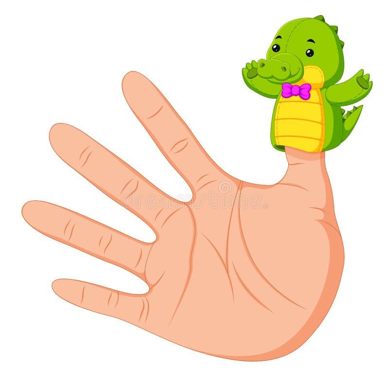 Wręcza być ubranym krokodyla palca kukły na kciuku ilustracja wektor