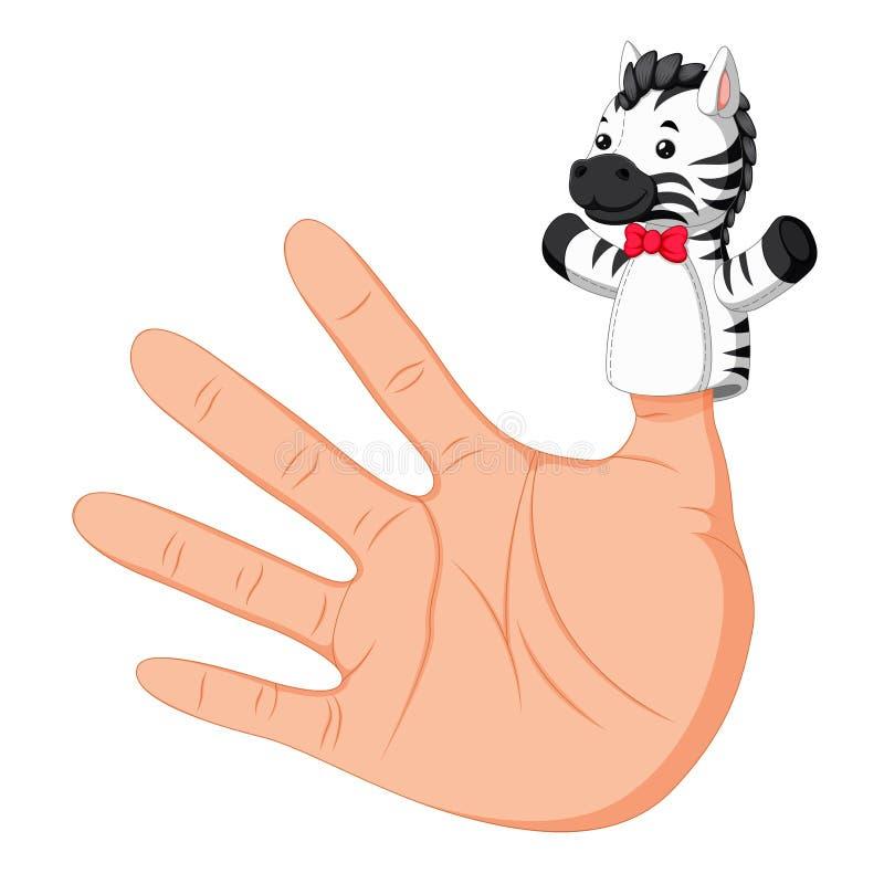 Wręcza być ubranym zebra palca kukły na kciuku ilustracja wektor