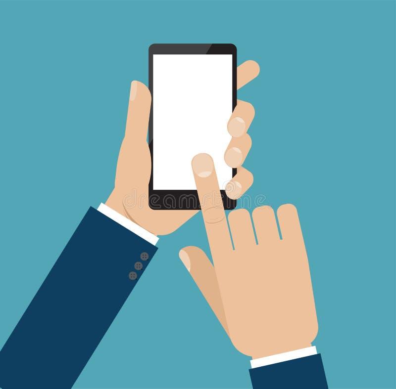 Wręcza chwyta smartphone, palcowy dotyk podpisuje wewnątrz guzika ilustracja wektor