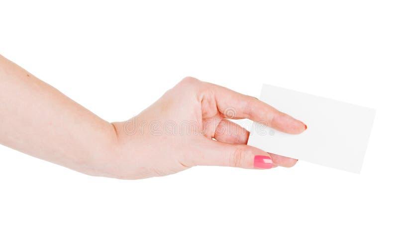 Ręka chwyta pustego miejsca wizytówka zdjęcie royalty free