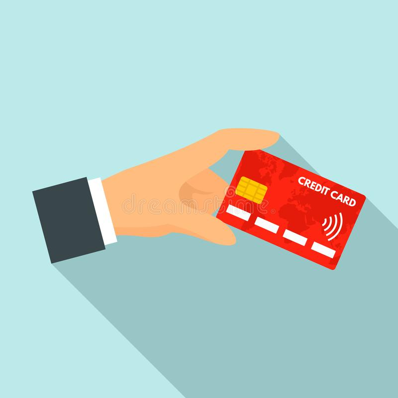 Wręcza czerwoną nfc karty kredytowej ikonę, mieszkanie styl royalty ilustracja