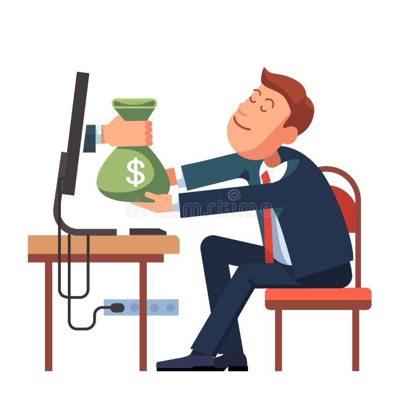Wręcza dawać pieniądze od komputeru biznesmen royalty ilustracja