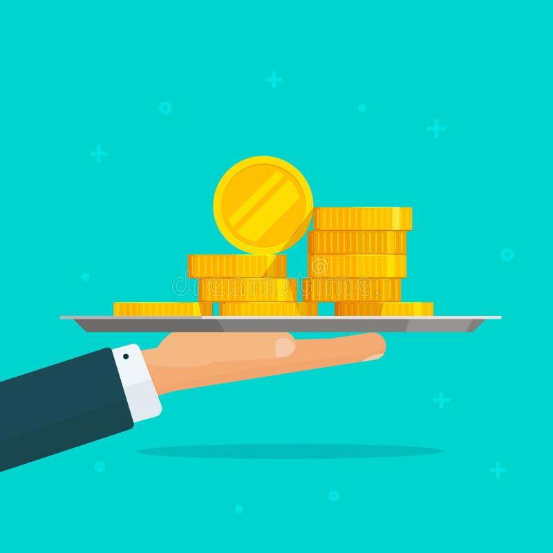 Wręcza dawać pieniądze wektorowej ilustraci, płaskiemu kartonu mężczyzna i monety gotówki sterty w ręce, pojęcie sukces dotacja,  ilustracji