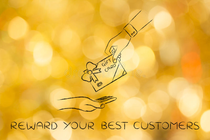 Wręcza dawać prezent karcie z łękiem, nagradza twój najlepszy klientów, fotografia stock
