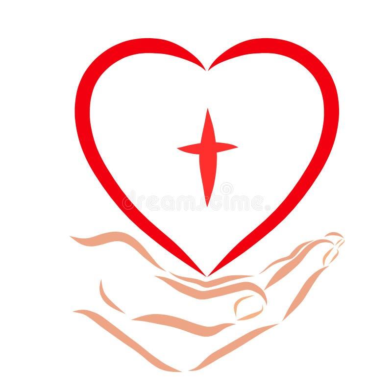 Wręcza dawać sercu z wizerunkiem krzyż, wiara ilustracja wektor