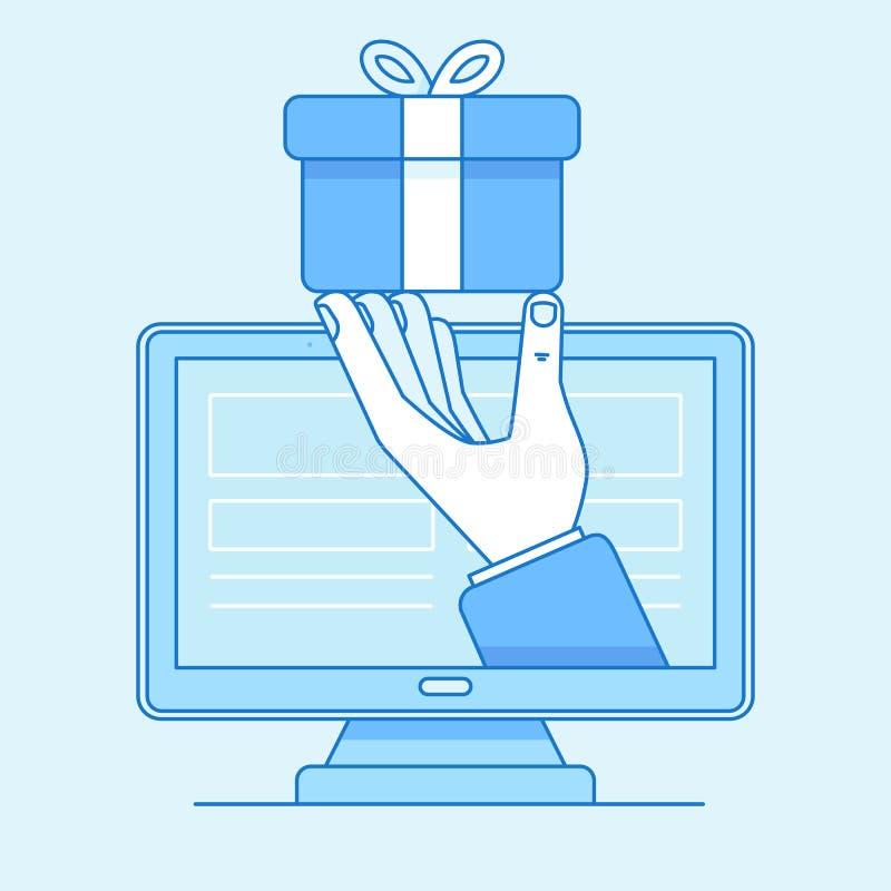 Wręcza dawać teraźniejszości dla online sklepowego klienta - online sklep ilustracja wektor
