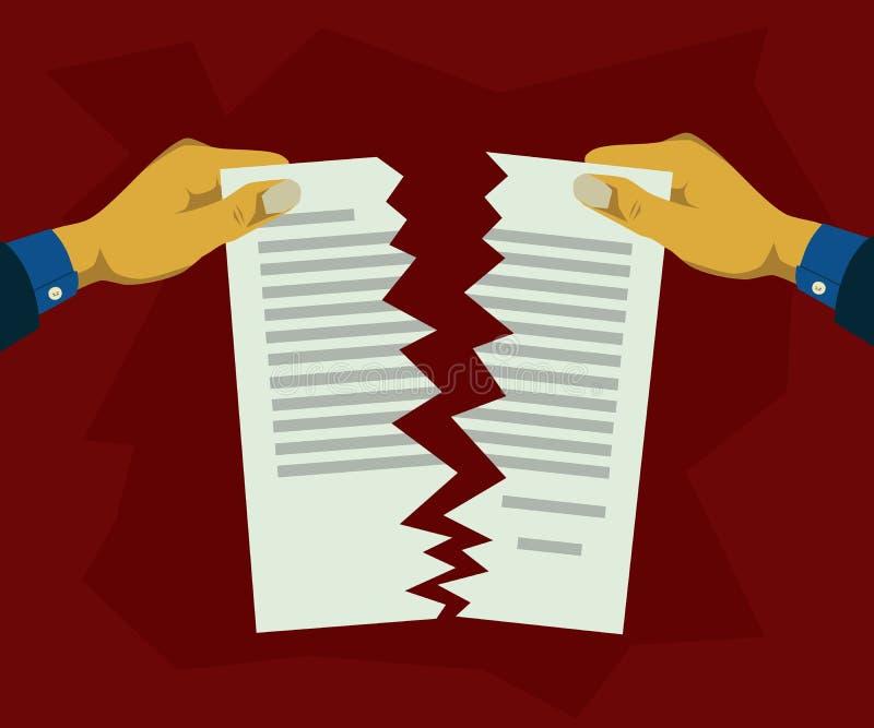 Wręcza drzeć papierowych dokumenty w dwa royalty ilustracja