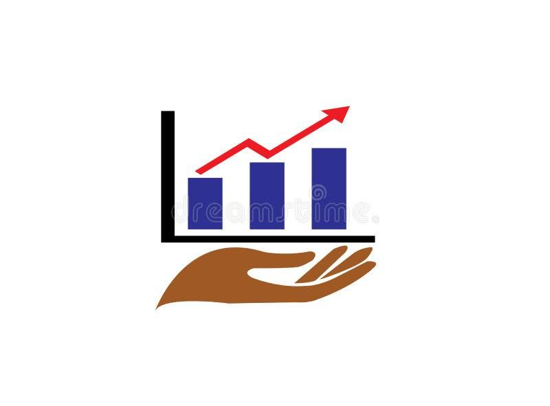 Wręcza handlu rynek dla logo projekta i sporządza mapę prętową strzałę dla statystyk i ilustracji