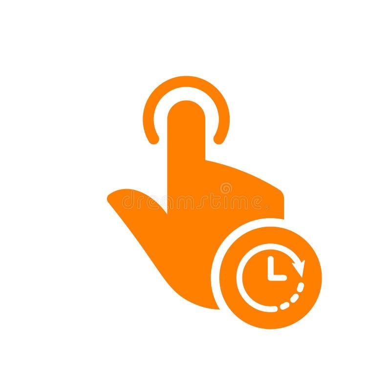 Wręcza ikonę, gest ikona z zegaru znakiem Wręcza ikonę i odliczanie, ostateczny termin, rozkład, planistyczny symbol ilustracja wektor