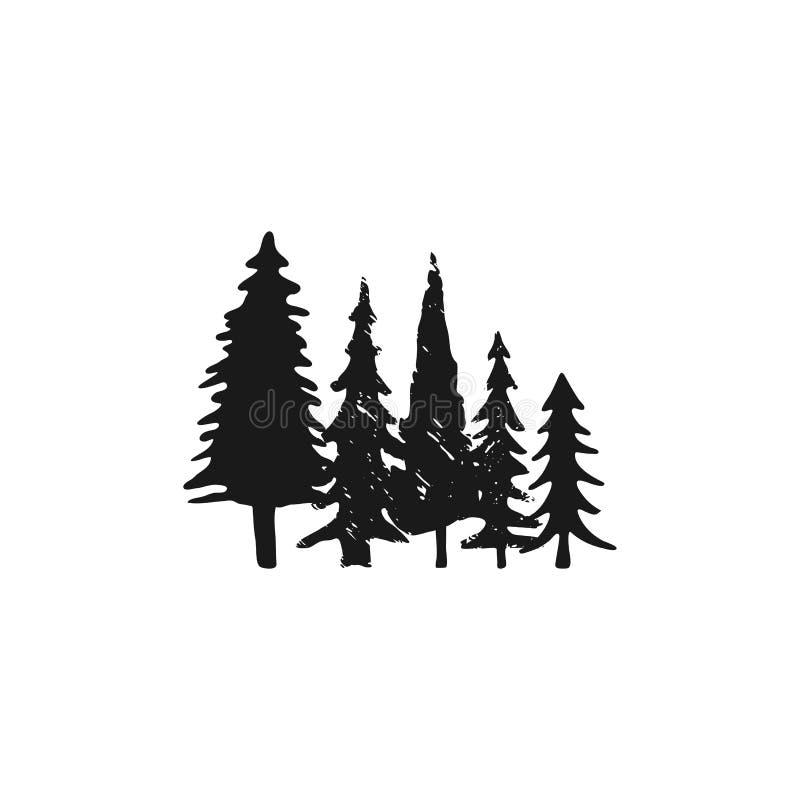 Wręcza kreślących drzewa ustawiających w sylwetka monochromu stylu Akcyjny Wektorowy sosna symbol, ilustracja odizolowywająca na  royalty ilustracja