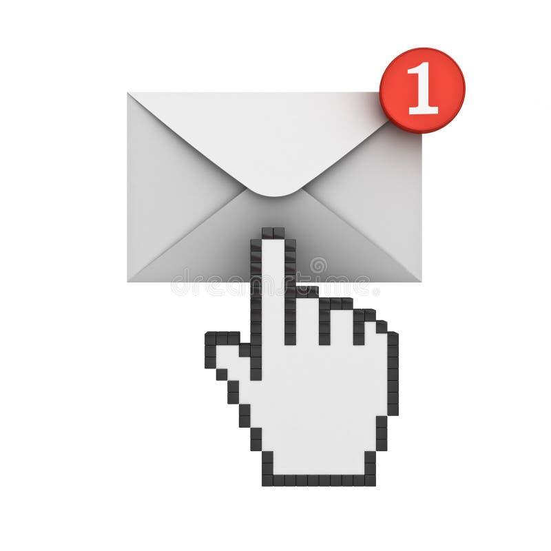 Wręcza kursor klika E-mailowego powiadomienie jeden nowy e-mail w inbox ilustracji