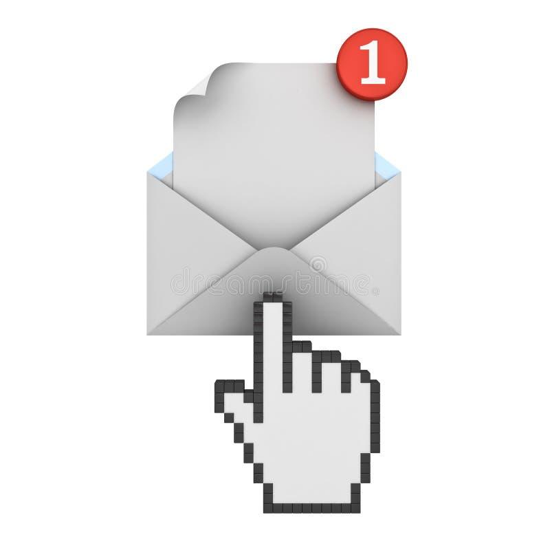 Wręcza kursor klika E-mailowego powiadomienie jeden nowy e-mail w inbox ilustracja wektor