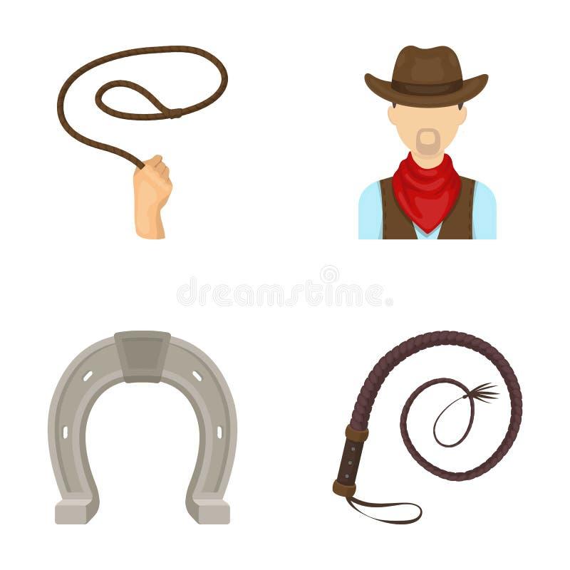 Wręcza lasso, kowboj, podkowa, bat Rodeo ustalone inkasowe ikony w kreskówka stylu wektorowym symbolu zaopatrują ilustracyjną sie royalty ilustracja