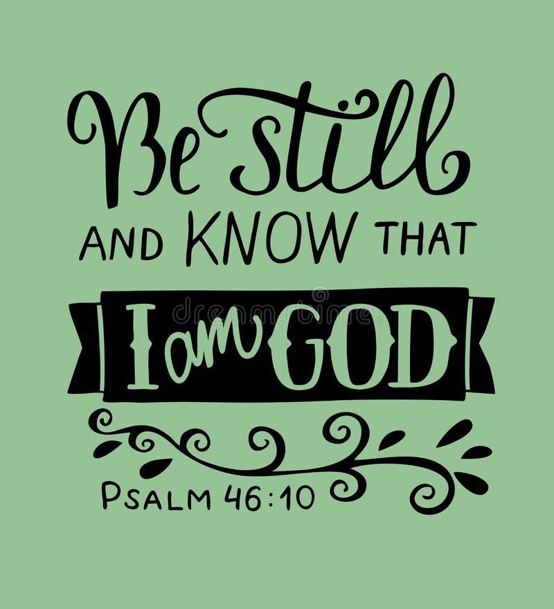 Wręcza literowanie Był wciąż i zna że jestem bóg psalm royalty ilustracja