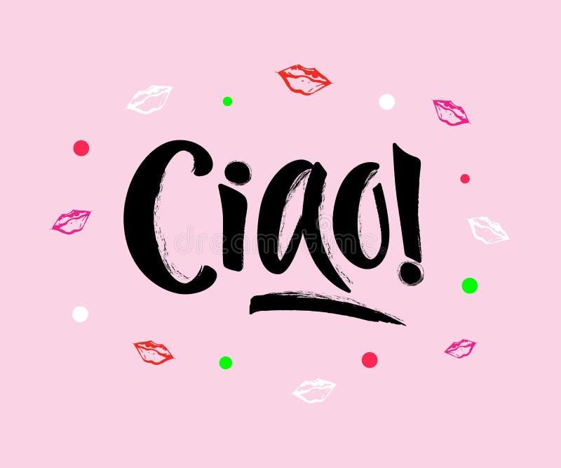 Wręcza literowanie słowo CIAO na różowym tle z dekorującymi elementami ilustracji
