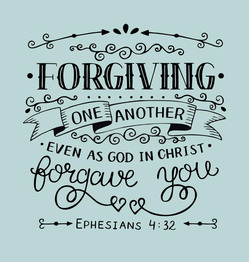 Wręcza literowanie z biblią wierszową Wybaczający jeden inny parzysty, równy gdy bóg w Chrystus wybaczał ciebie na błękitnym tle ilustracja wektor