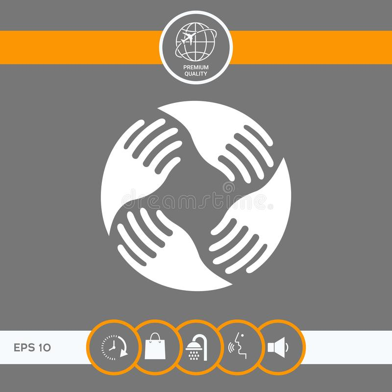 wręcza logo pracę zespołową Ludzki związek royalty ilustracja