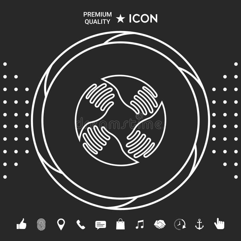 wręcza logo pracę zespołową Ludzki związek Kreskowa ikona Graficzni elementy dla twój designt ilustracji