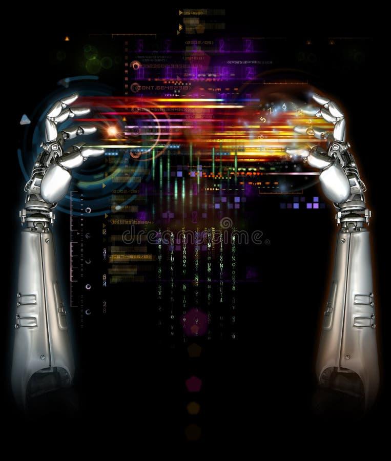wręcza machinalnego robot ilustracji