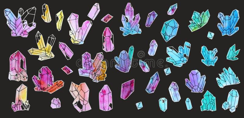 Wręcza malującą akwarelę ustawiającą kryształy odizolowywający na białym tle ilustracji