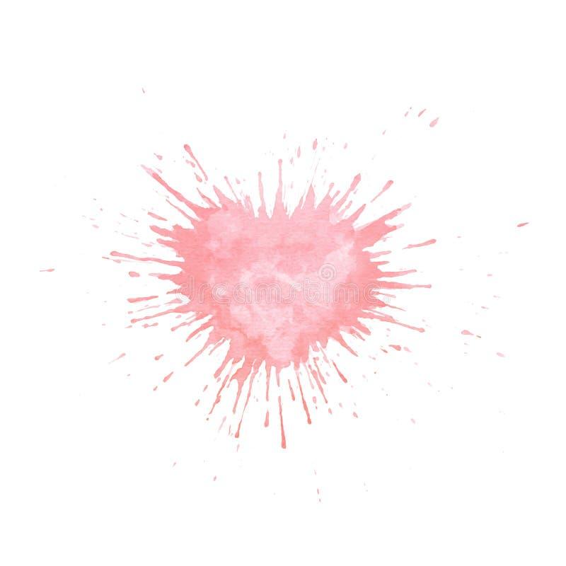 Wręcza malującą akwareli pluśnięcia teksturę w kształcie serce Wektor menchie malują kroplę odizolowywającą na białym tle ilustracji