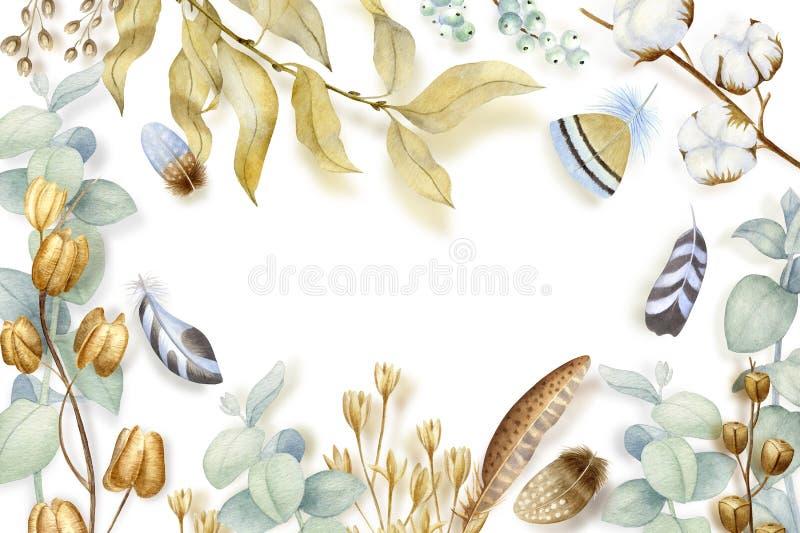 Wręcza malujących akwarela kwiaty, suchych ziarno strąki, bawełnę i gałąź w czecha stylu, Boho nieociosani naturalni elementy dla ilustracji