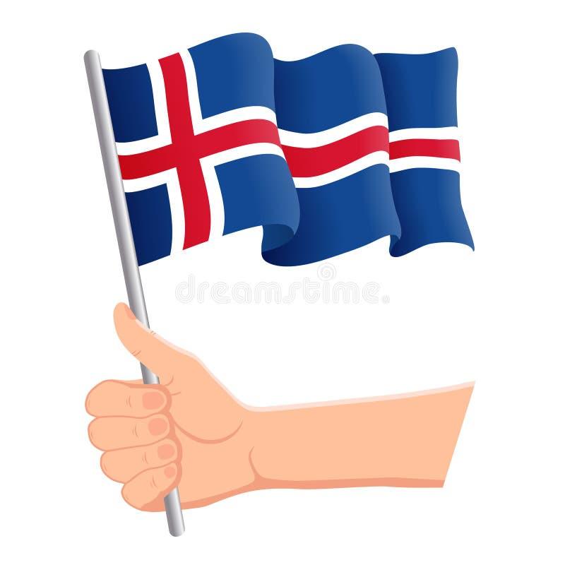 Wręcza mienia i falowania flaga państowowa Iceland r r?wnie? zwr?ci? corel ilustracji wektora ilustracji
