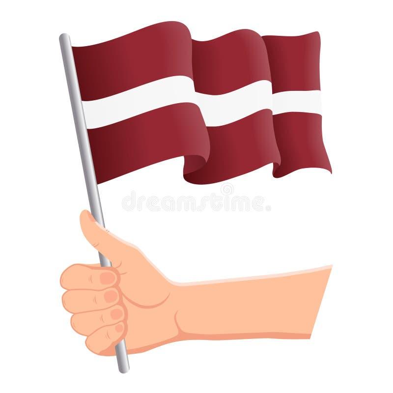 Wręcza mienia i falowania flaga państowowa Latvia r r?wnie? zwr?ci? corel ilustracji wektora ilustracji