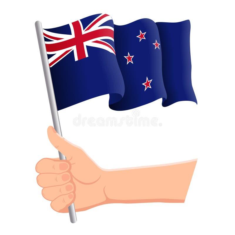 Wręcza mienia i falowania flaga państowowa Nowa Zelandia r r?wnie? zwr?ci? corel ilustracji wektora royalty ilustracja