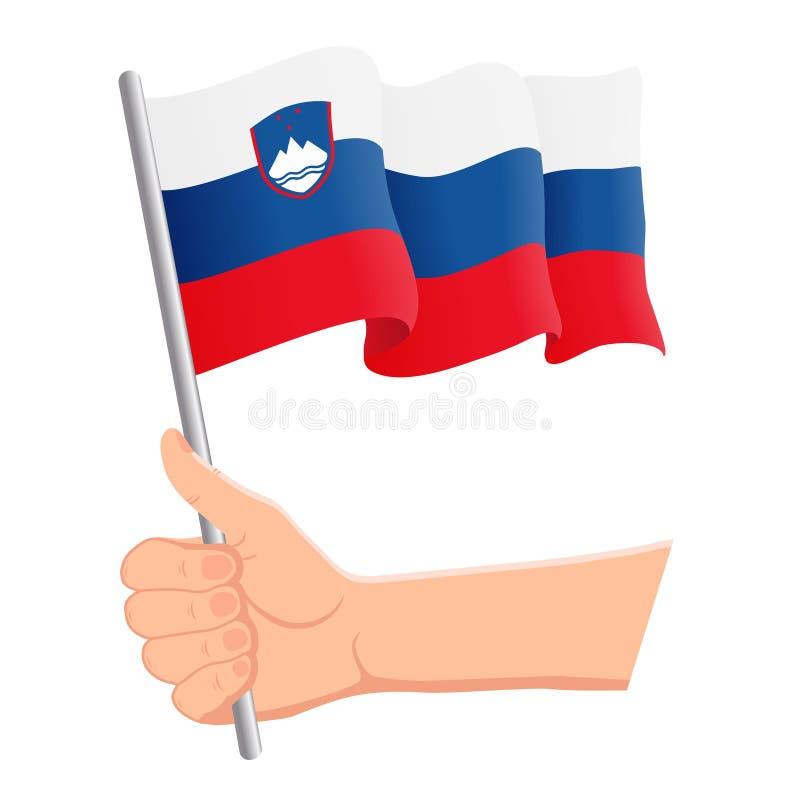 Wręcza mienia i falowania flaga państowowa Slovenia r r?wnie? zwr?ci? corel ilustracji wektora ilustracji