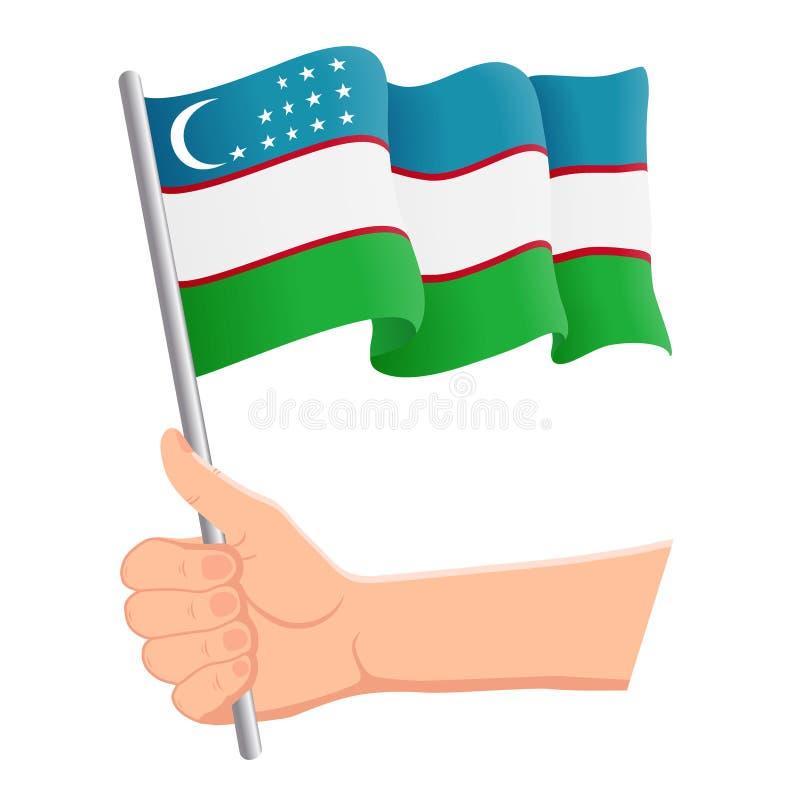 Wręcza mienia i falowania flaga państowowa Uzbekistan r r?wnie? zwr?ci? corel ilustracji wektora ilustracji