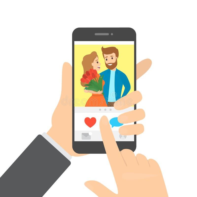 Wręcza mienia smartphone i lubi fotografię w app ilustracji