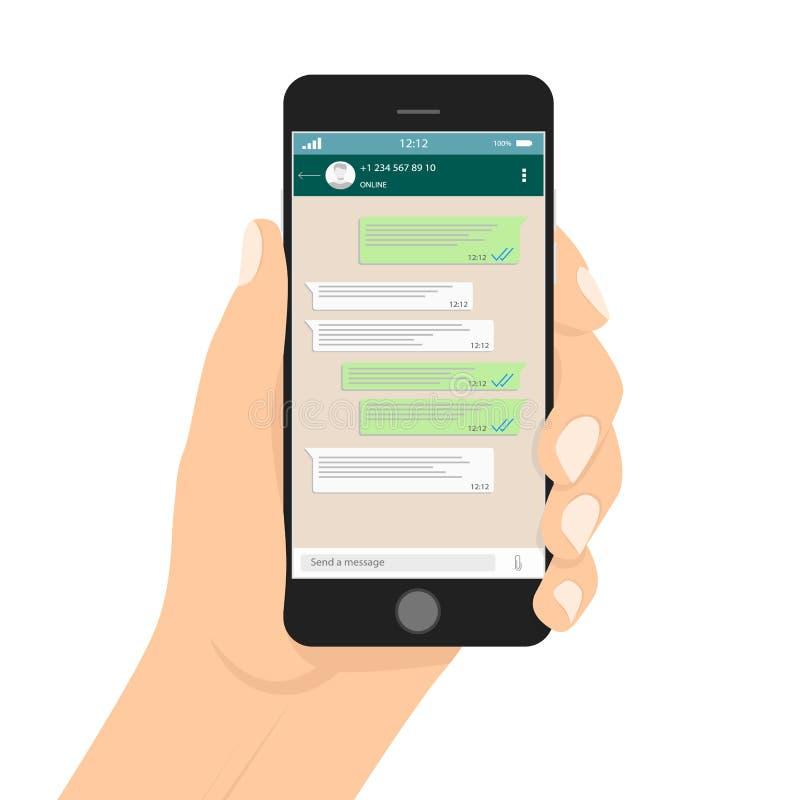 Wręcza mienia smartphone i pisze wiadomości w ogólnospołecznej sieci, dotykający ekran ilustracja wektor