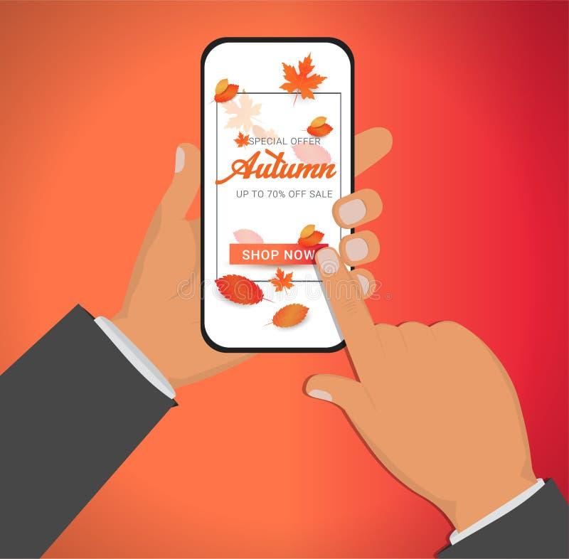 Wręcza mienia smartphone, telefon komórkowy z jesieni oferty specjalnej sztandarem ilustracja wektor