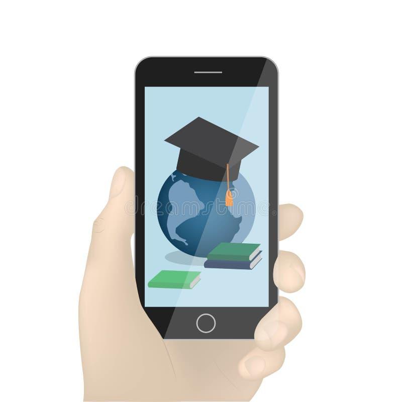 Wręcza mienia smartphone wektor, czarny telefon komórkowy w ręki ilustracji odizolowywającej na białym tle Książki i globa royalty ilustracja