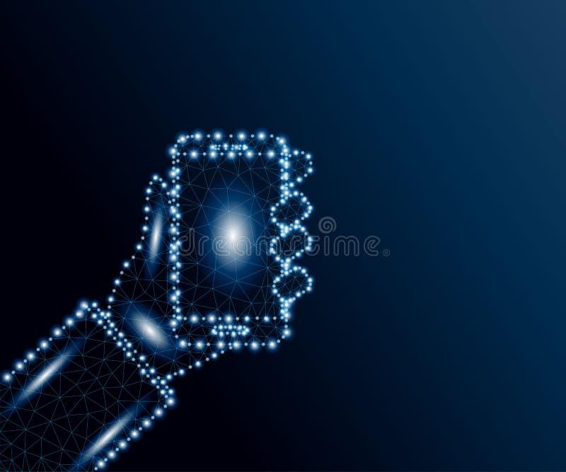 Wręcza mienia smartphone wieloboka, błękitne gwiazdy 3 royalty ilustracja