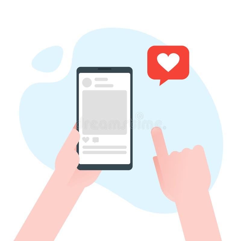 Wręcza mienia smartphone z kierową emoji wiadomością na ekranie, jak guzik Miłości wyznanie, jak Ogólnospołeczna sieć i urządzeni ilustracja wektor