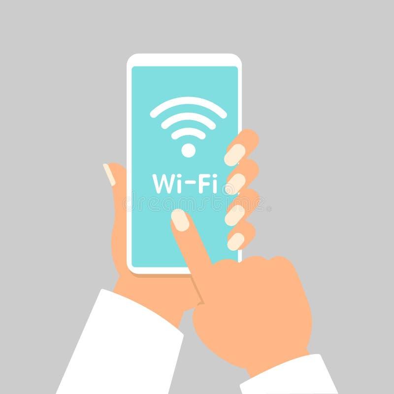 Wręcza mienia smartphone z wifi bezprzewodowy podłączeniowy biznesowy pojęcie odizolowywającą ilustracją ilustracji