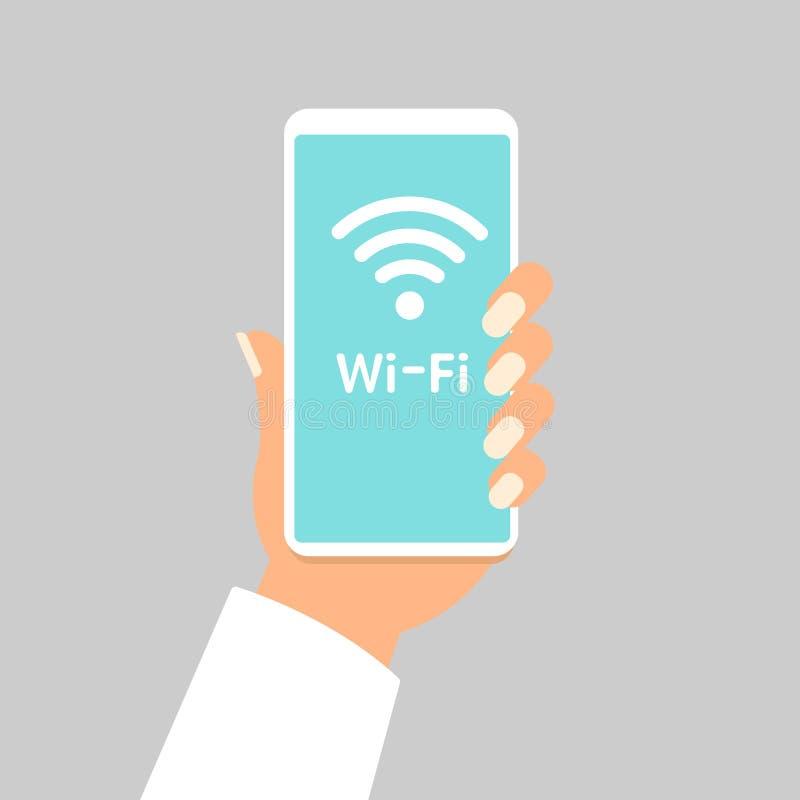 Wręcza mienia smartphone z wifi bezprzewodowy podłączeniowy biznesowy pojęcie odizolowywającą ilustracją royalty ilustracja
