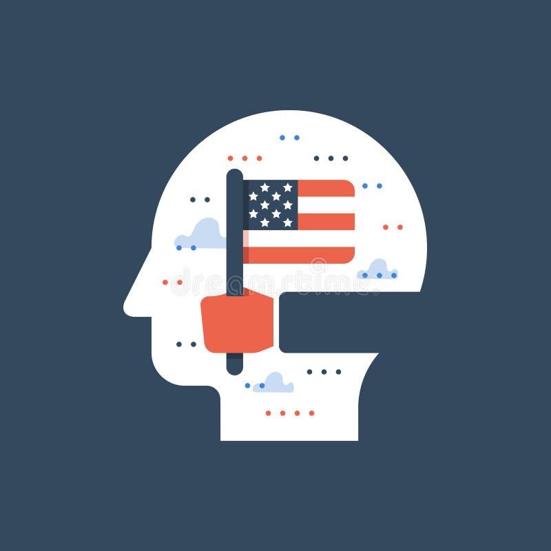 Wręcza mienie flaga amerykańską, uczy się angielszczyzny, program edukacyjny, międzynarodowa uczeń wymiana ilustracja wektor