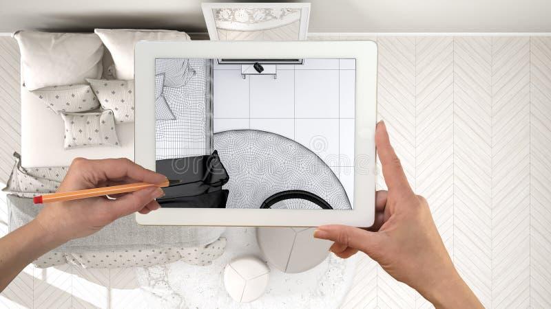 Wręcza mienie pastylkę, symuluje projektów produkty w reala domu, AR zastosowanie, meblarskiego i wewnętrznego, architekta projek obraz royalty free